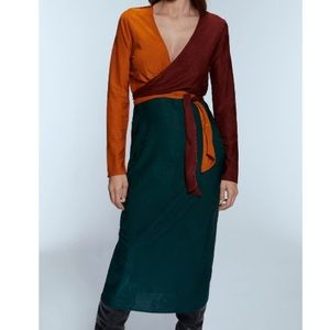 Zara color block jacquard dress